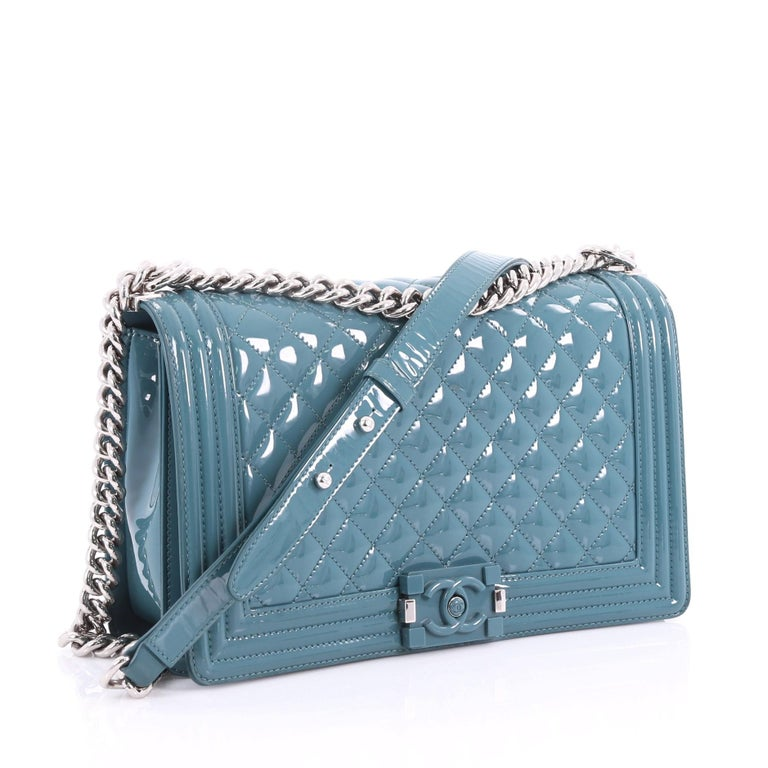 8b5d443c28bf Blue Chanel Boy Flap Bag Quilted Plexiglass Patent New Medium For Sale