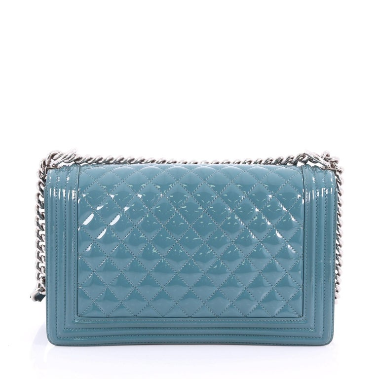 7f6f3c8df892 Chanel Boy Flap Bag Quilted Plexiglass Patent New Medium In Good Condition  For Sale In New