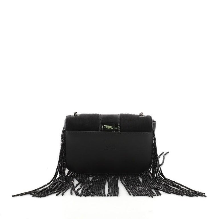 Christian Louboutin Fringe Sweet Charity Crossbody Bag Pony Hair Mini In Good Condition For Sale In New York, NY