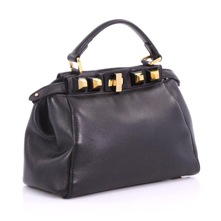 2d2a66494487 Black Fendi Peekaboo Handbag Leather with Studded Detail Mini For Sale