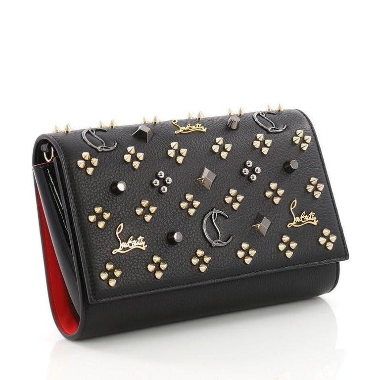 cfc8615ec5 Black Christian Louboutin Paloma Clutch Studded Leather Small For Sale