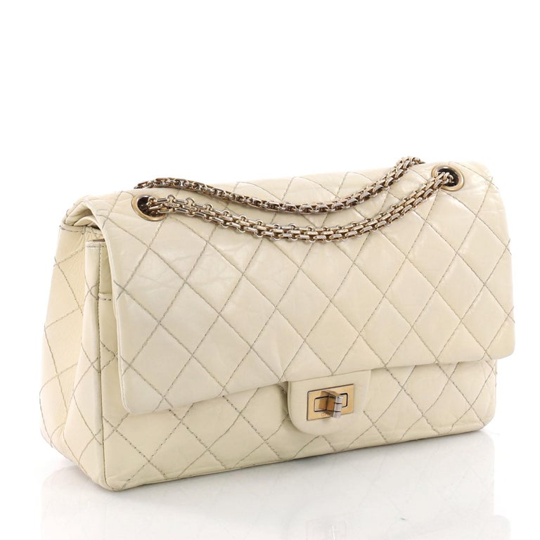 8793edcd39ad Beige Chanel Reissue 2.55 Handbag Quilted Aged Calfskin 226 For Sale