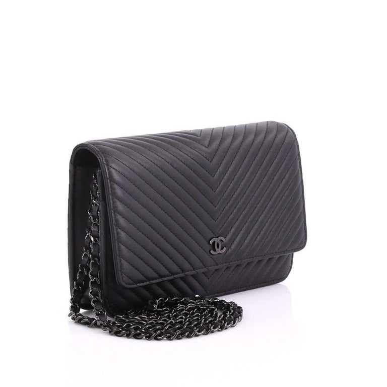 4302496d1aced0 Chanel So Black Wallet on Chain Chevron Lambskin In Good Condition For Sale  In New York