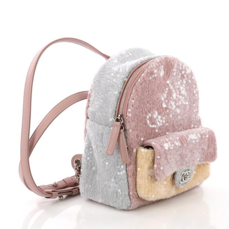 062dc7624b27 Beige Chanel Waterfall Backpack Sequins with Leather Mini For Sale