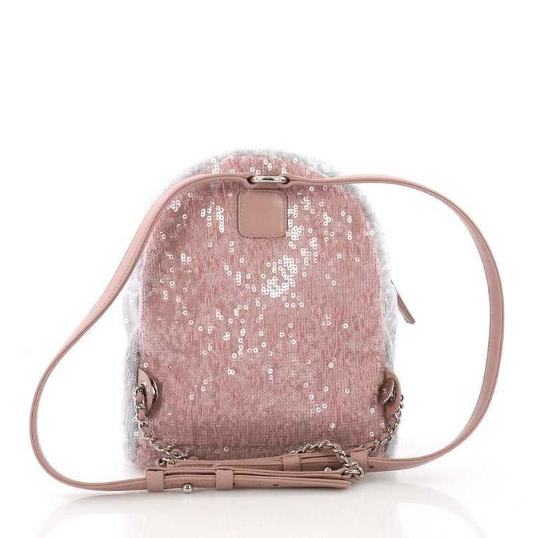 54fffa46f100 Chanel Waterfall Backpack Sequins with Leather Mini In Good Condition For  Sale In New York