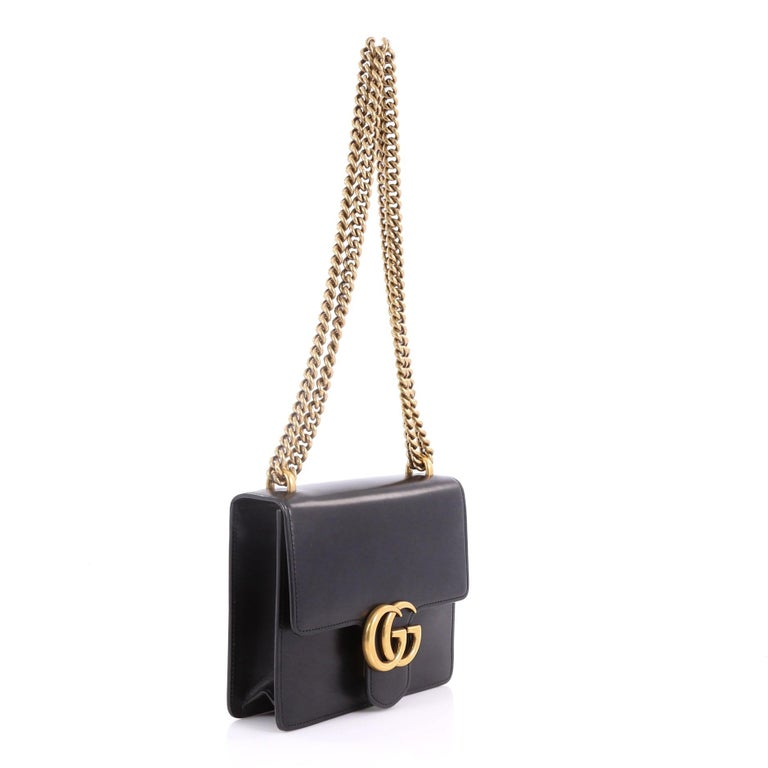 16e0af668ab Gucci Marmont Chain Shoulder Bag Leather Small At 1stdibs