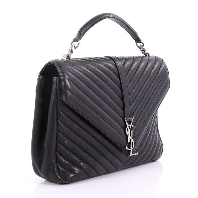 0b5753c6bf57 Black Saint Laurent Classic Monogram College Bag Matelasse Chevron Leather  Large For Sale