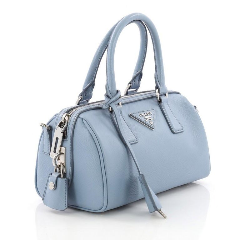 2a512f019c5a7a Blue Prada Convertible Bowler Bag Saffiano Leather Small For Sale