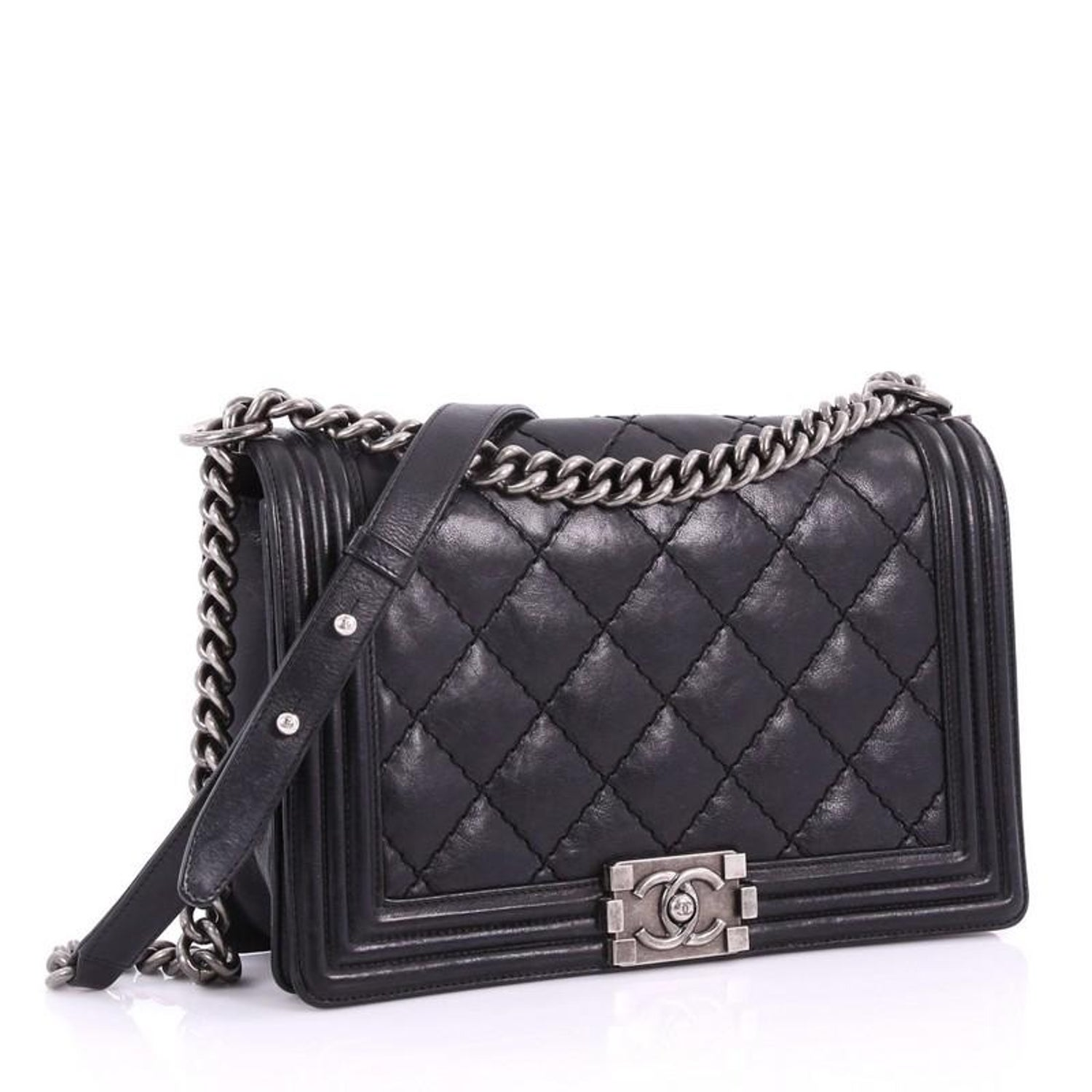 3e0a6eed9aa8 Chanel Stitch Boy Flap Bag Quilted Calfskin New Medium at 1stdibs