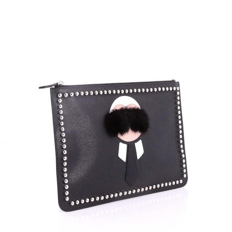 54ebc3c97816 Black Fendi Karlito Pouch Studded Saffiano Leather Medium For Sale