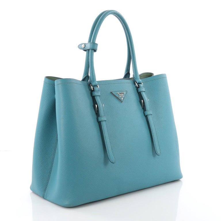 76ad1aea7dec19 Blue Prada Cuir Covered Strap Double Tote Saffiano Leather Medium For Sale