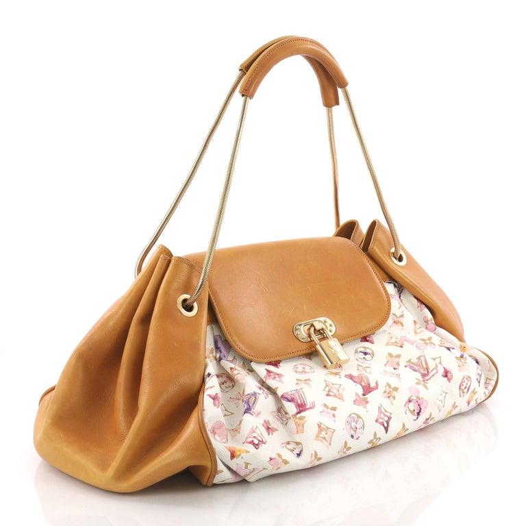 Beige Louis Vuitton Jamais Handbag Limited Edition Aquarelle Monogram Canvas For Sale