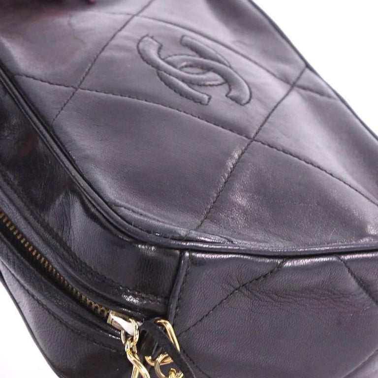 991ff7041cfd Chanel Vintage Diamond CC Camera Bag Quilted Leather Small For Sale ...