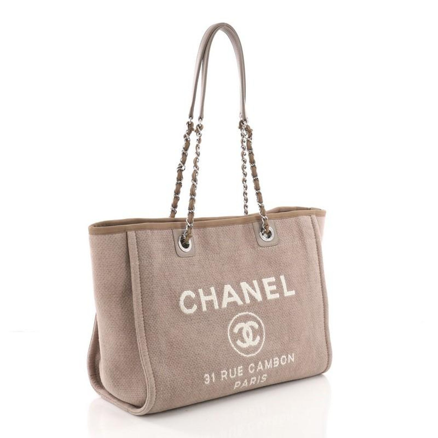22f01702065c Chanel Deauville Chain Tote Canvas Small at 1stdibs