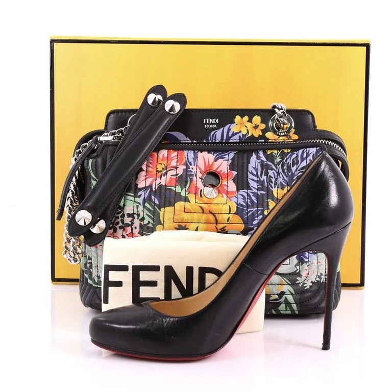 fa34363d139e Fendi DotCom Click Shoulder Bag Quilted Printed Leather Small at 1stdibs