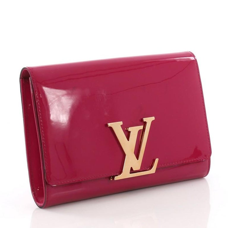 e35ae61258c1 Red Louis Vuitton Louise Clutch Patent MM For Sale