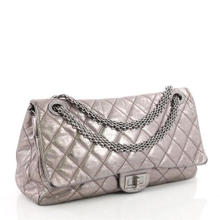 fe56546b96b9 Gray Chanel Reissue 2.55 Handbag Quilted Metallic Aged Calfskin 228 For Sale