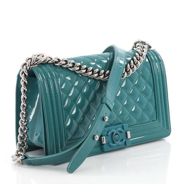 f343e48de03a Blue Chanel Boy Flap Bag Quilted Plexiglass Patent Old Medium For Sale