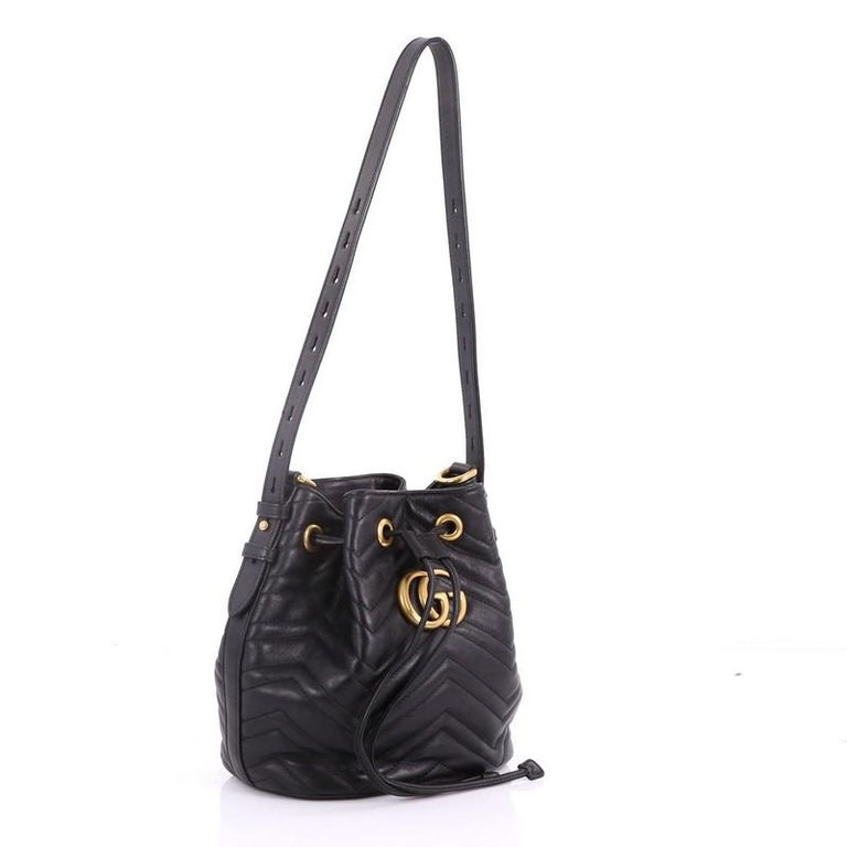f603af715 Black Gucci GG Marmont Bucket Bag Matelasse Leather Small For Sale