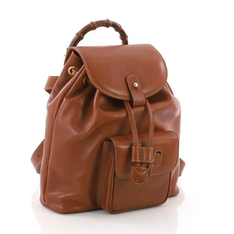 d72a4523b0ae Brown Gucci Vintage Bamboo Backpack Leather Mini For Sale