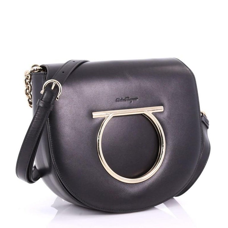 b272dfff005 Black Salvatore Ferragamo Gancini Saddle Flap Bag Leather Small For Sale