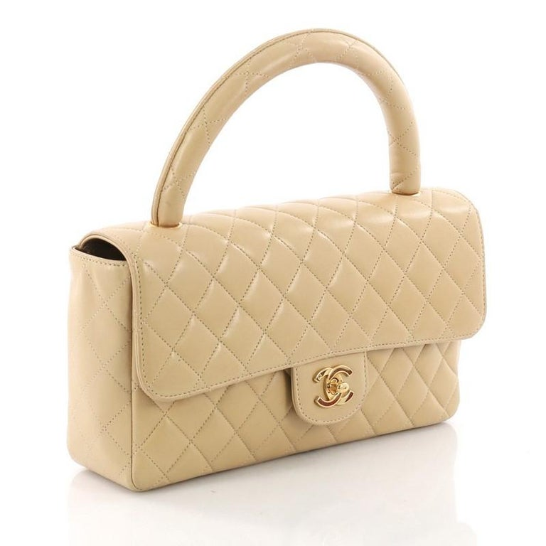 f4133dc431e3 Beige Chanel Vintage Twin Top Handle Flap Bag Quilted Lambskin Medium For  Sale