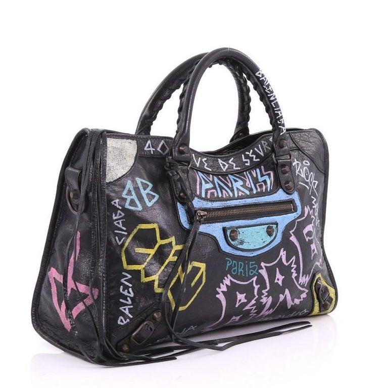 Balenciaga City Graffiti Classic Studs Handbag Leather Medium In Good Condition For New York