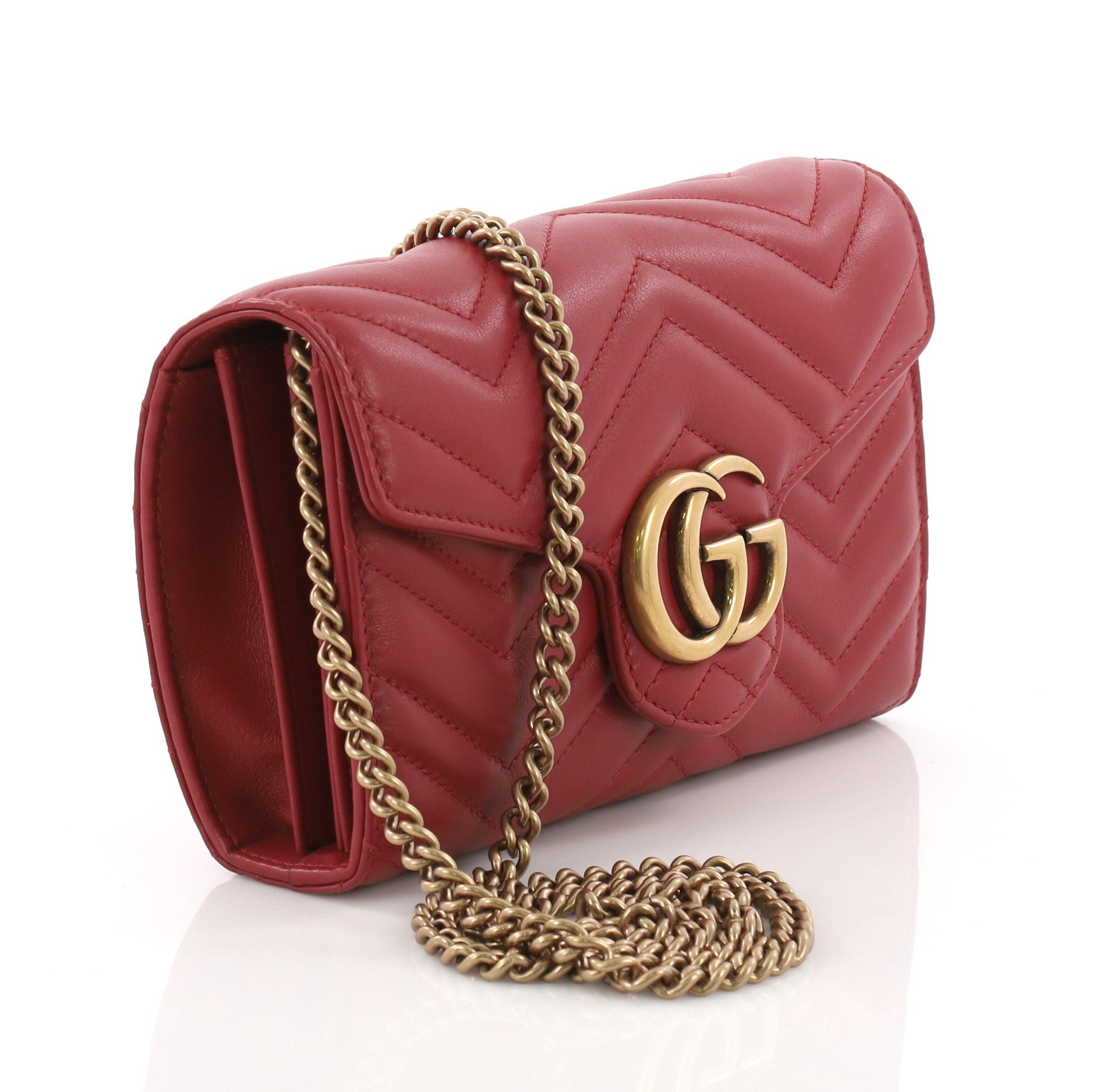 705840662348 Gucci GG Marmont Chain Wallet Matelasse Leather Mini at 1stdibs
