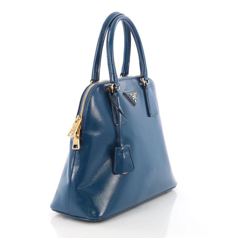 Blue Prada Promenade Handbag Vernice Saffiano Leather Small For
