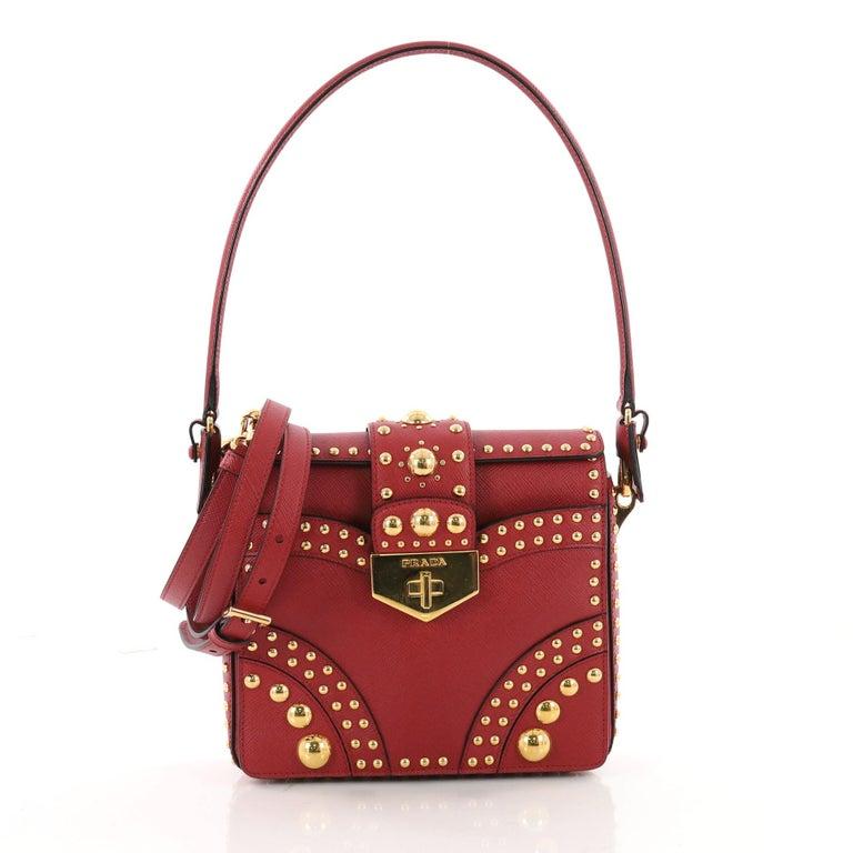 792b2b66dc61 Prada Turn Lock Shoulder Bag Studded Saffiano Leather Small