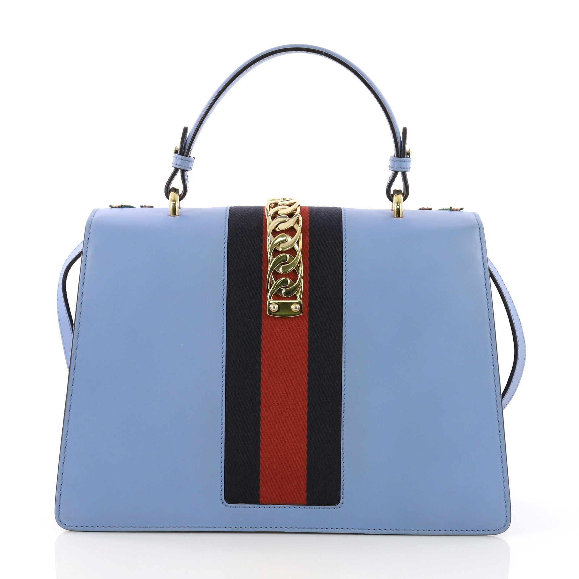 8e4c05219cd4 Gucci Sylvie Top Handle Bag Embroidered Leather Medium For Sale at 1stdibs