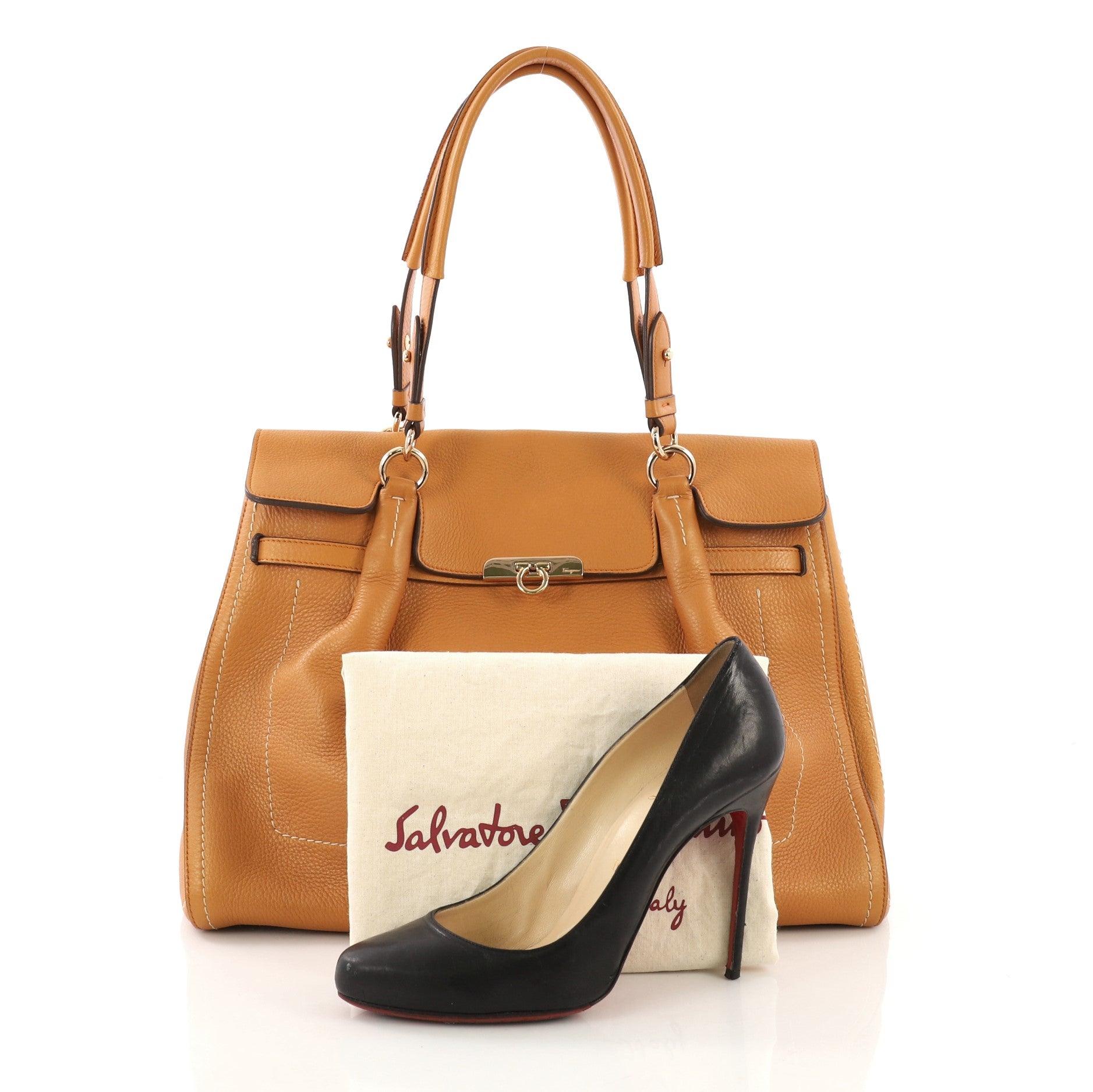 14e4fb82e4 Salvatore Ferragamo Fara Satchel Leather Large at 1stdibs