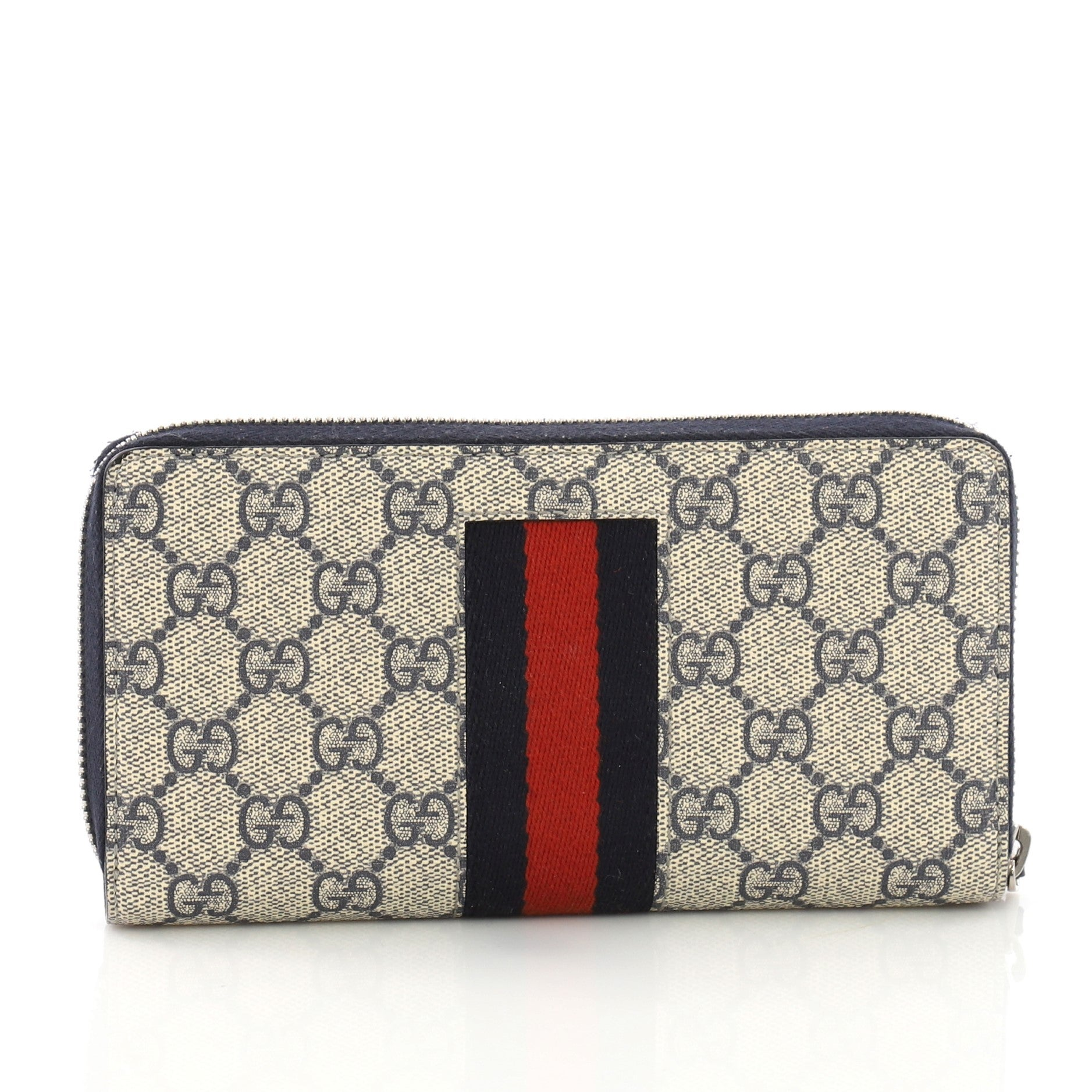 0e1367bb6772 Gucci Web Zip Around Wallet GG Coated Canvas at 1stdibs