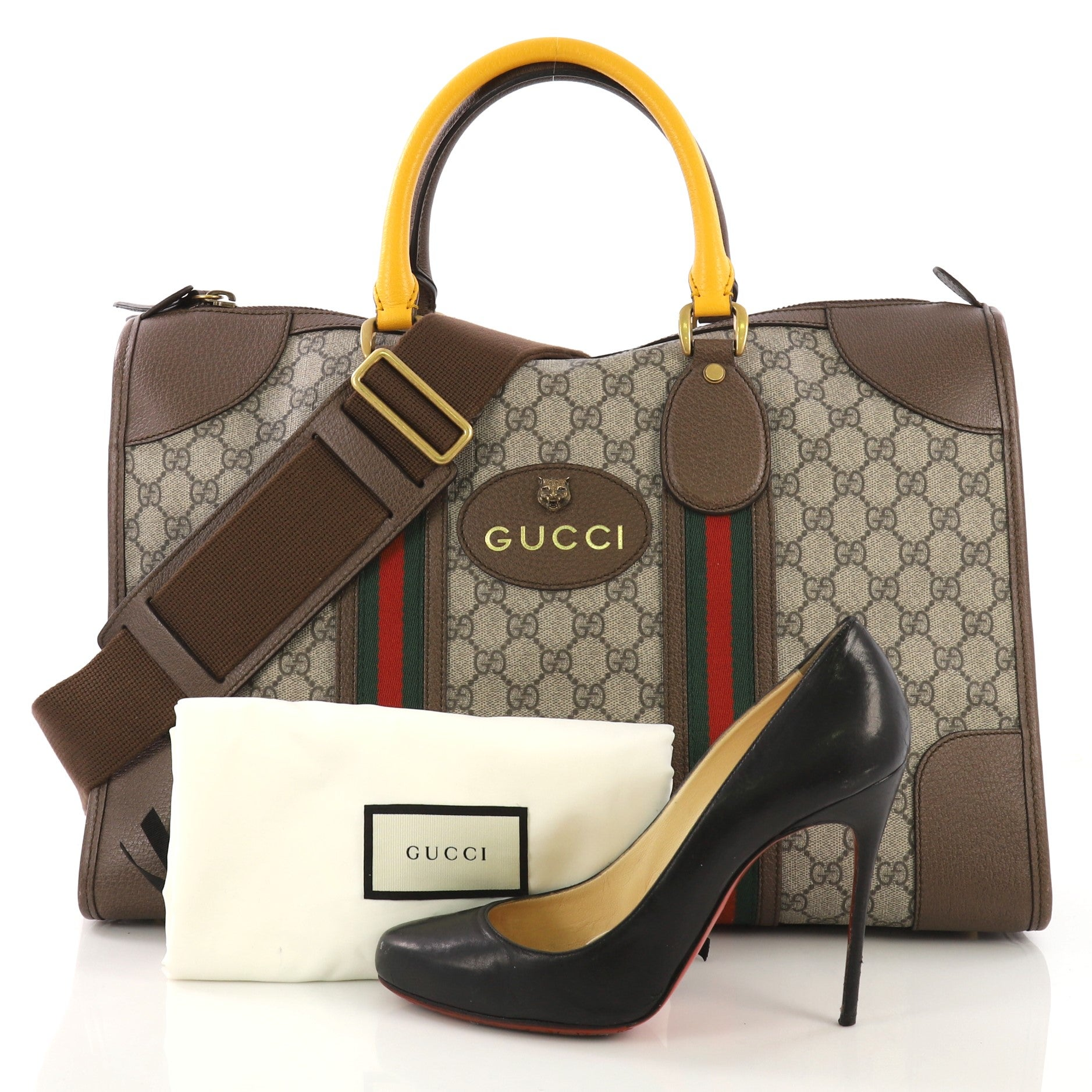 acc4d0980 Gucci Web Convertible Duffle Bag GG Coated Canvas Medium at 1stdibs