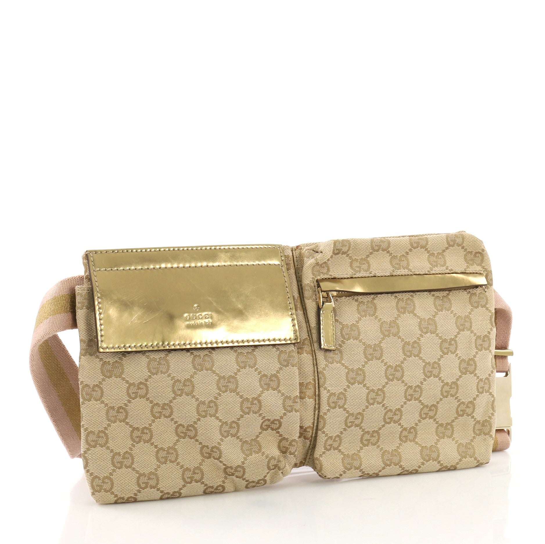 a5f3b020bc856e Gucci Vintage Double Belt Bag GG Canvas at 1stdibs