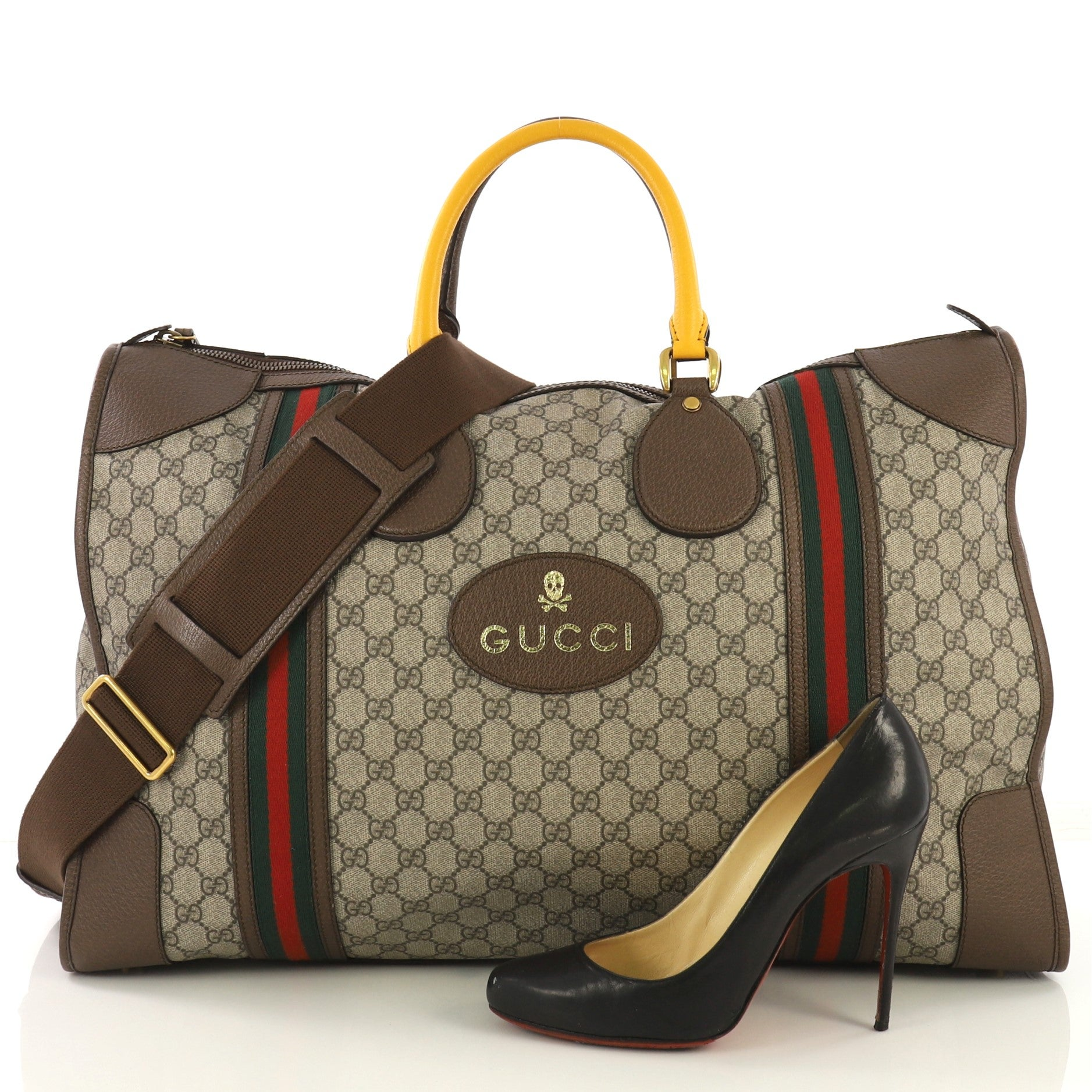 ce0e8cbc2 Gucci Web Convertible Duffle Bag GG Coated Canvas Large at 1stdibs