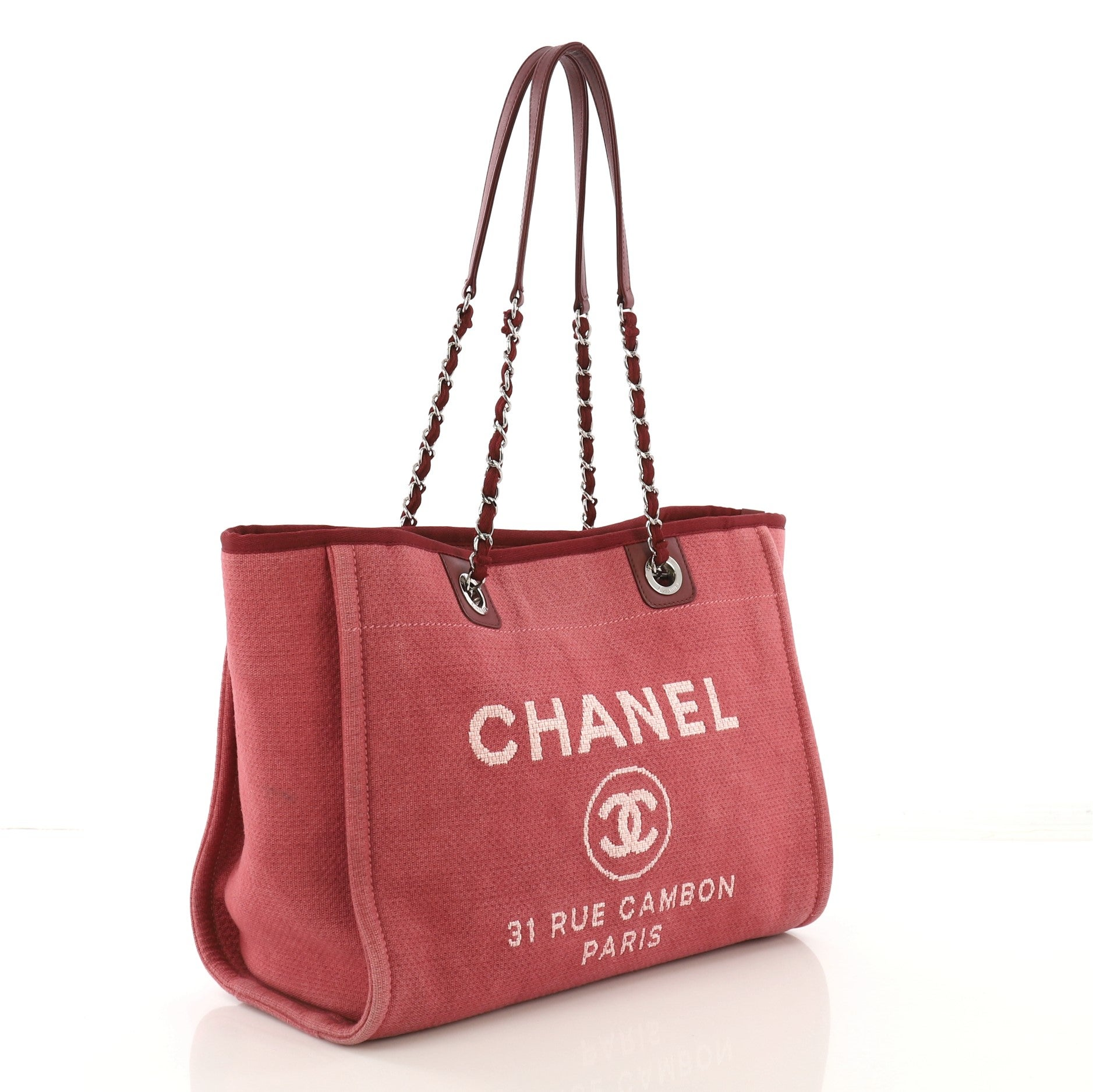 9d7a1385 Chanel Deauville Chain Tote Canvas Small