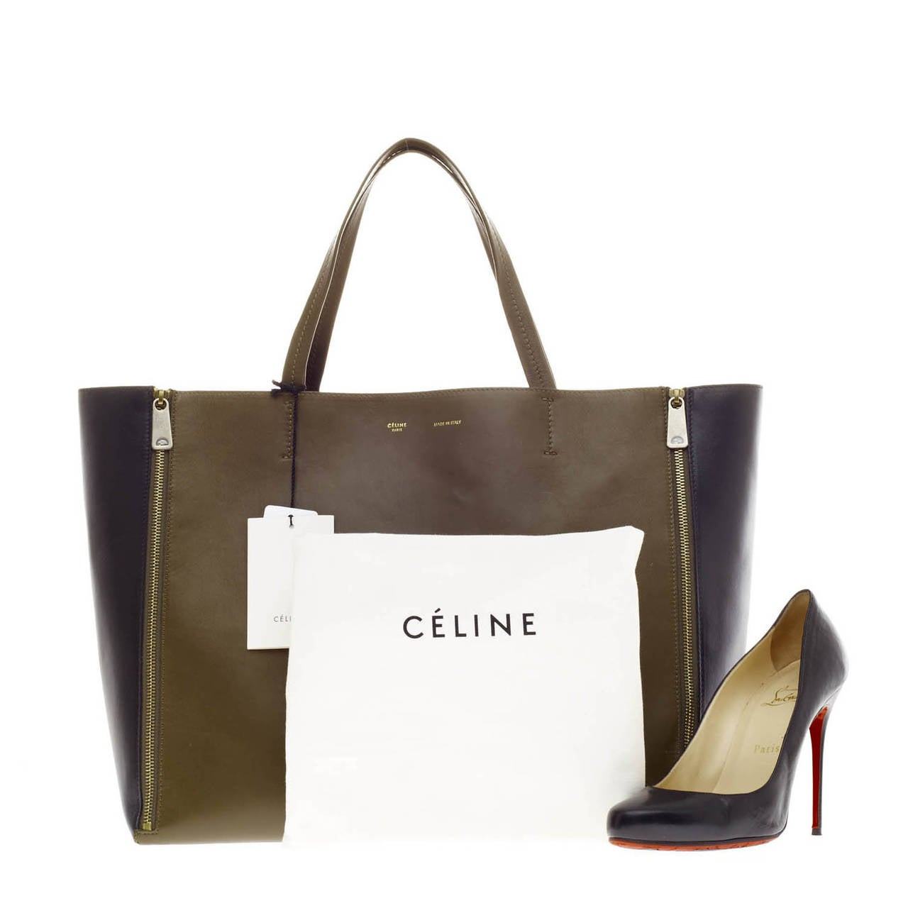 Celine Gusset Cabas Leather Horizontal at 1stdibs