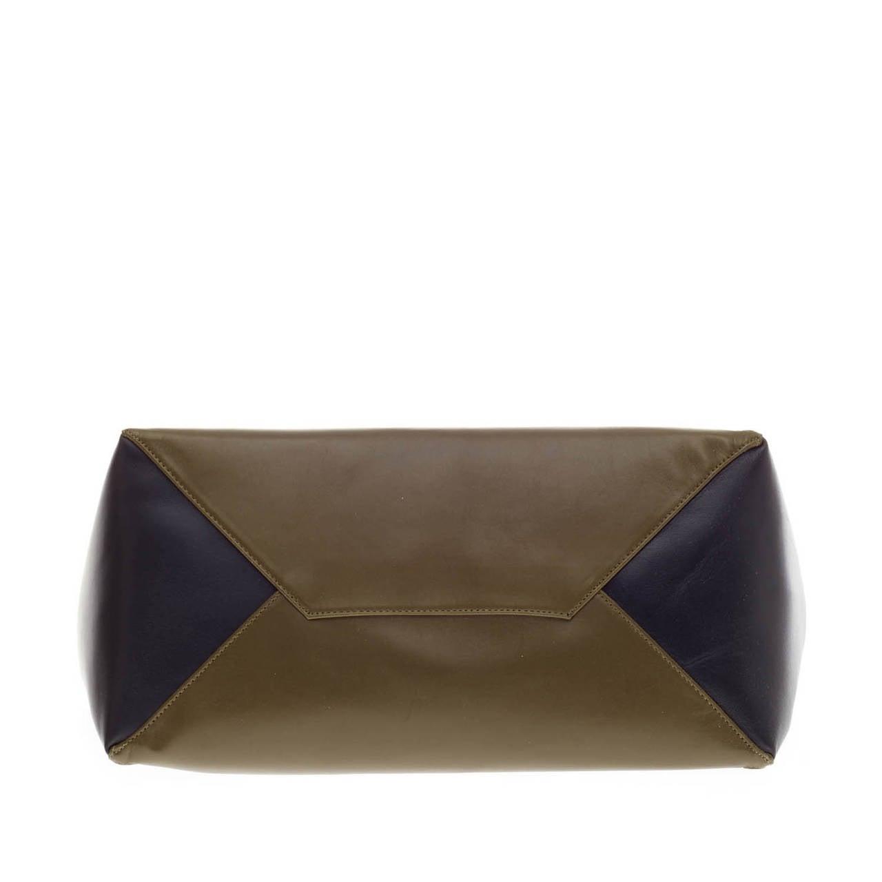 celine luggage mini black leather tote bag - Celine Gusset Cabas Leather Horizontal at 1stdibs