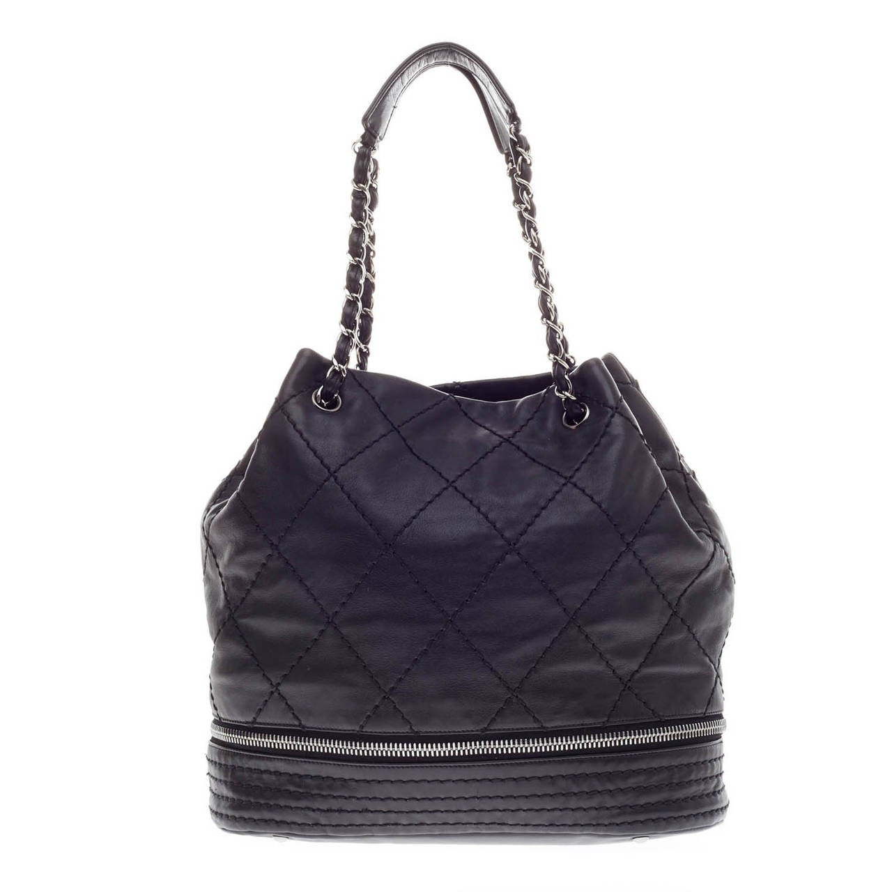 Chanel Expandable Ligne Bucket Quilted Stitched Leather ...