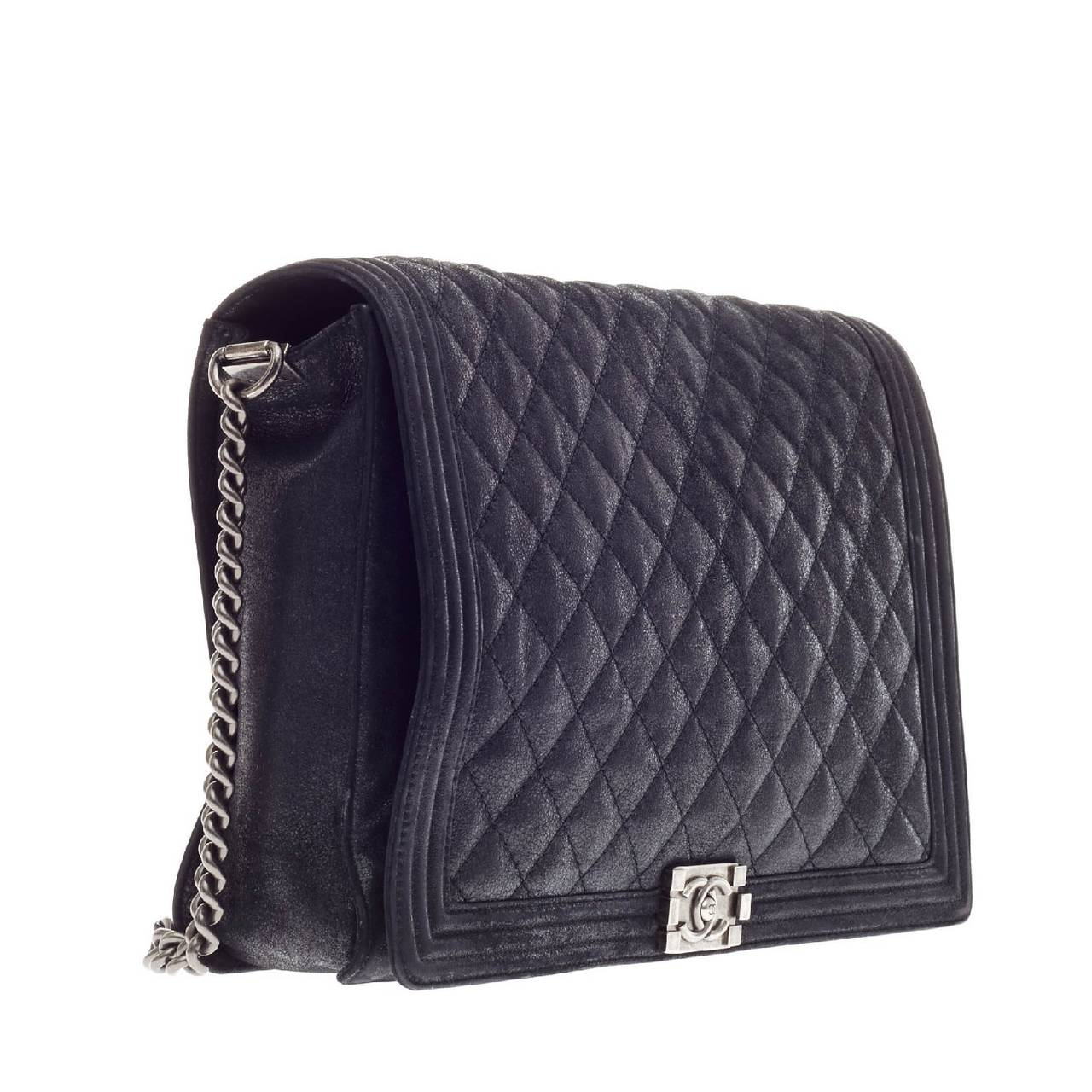 8cbe4fa2d8e5 Chanel Boy Flap Gentle Quilted Goatskin XL In Good Condition For Sale In  New York,
