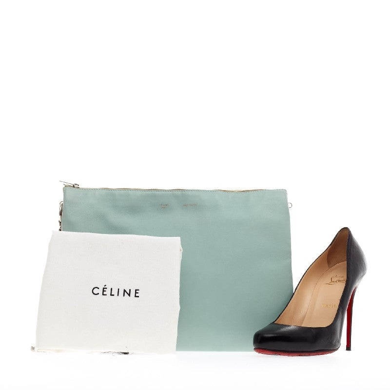 Celine Trio Chain Clutch Leather at 1stdibs
