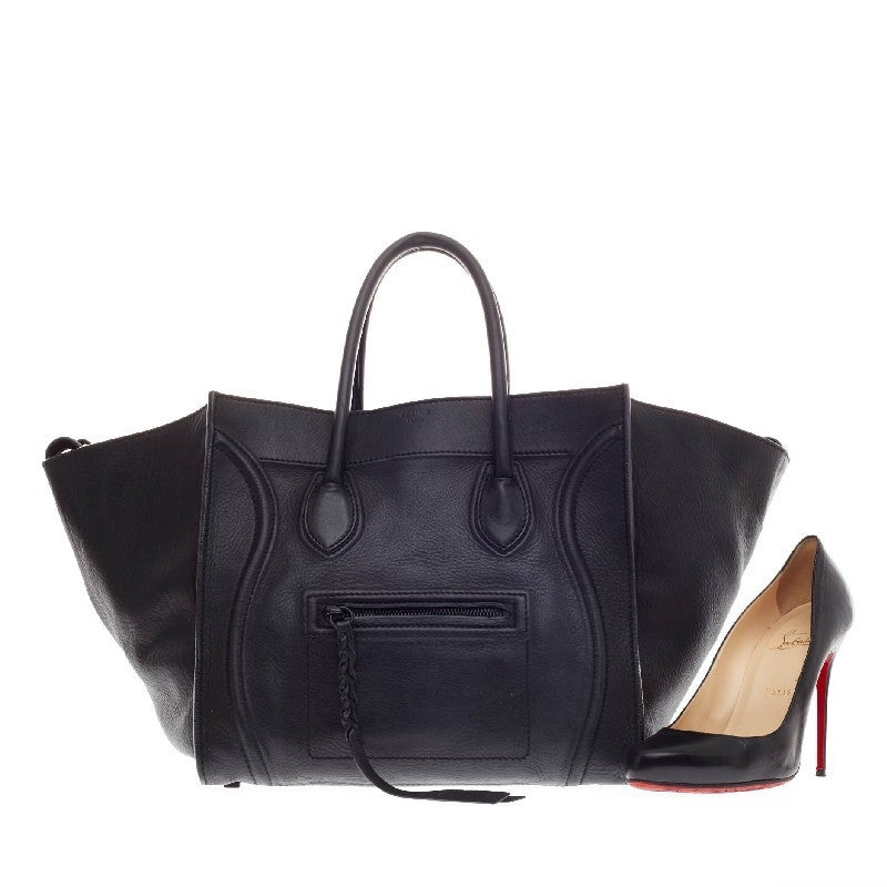 New Authentic Celine Micro Luge Black Smooth Leather