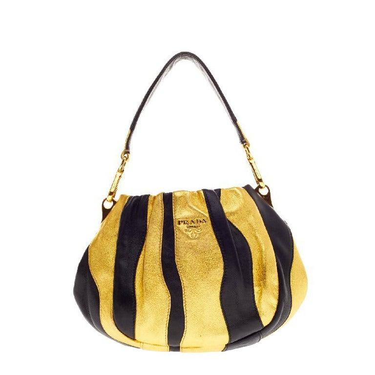 Prada Waves Handle Bag Leather Small at 1stdibs