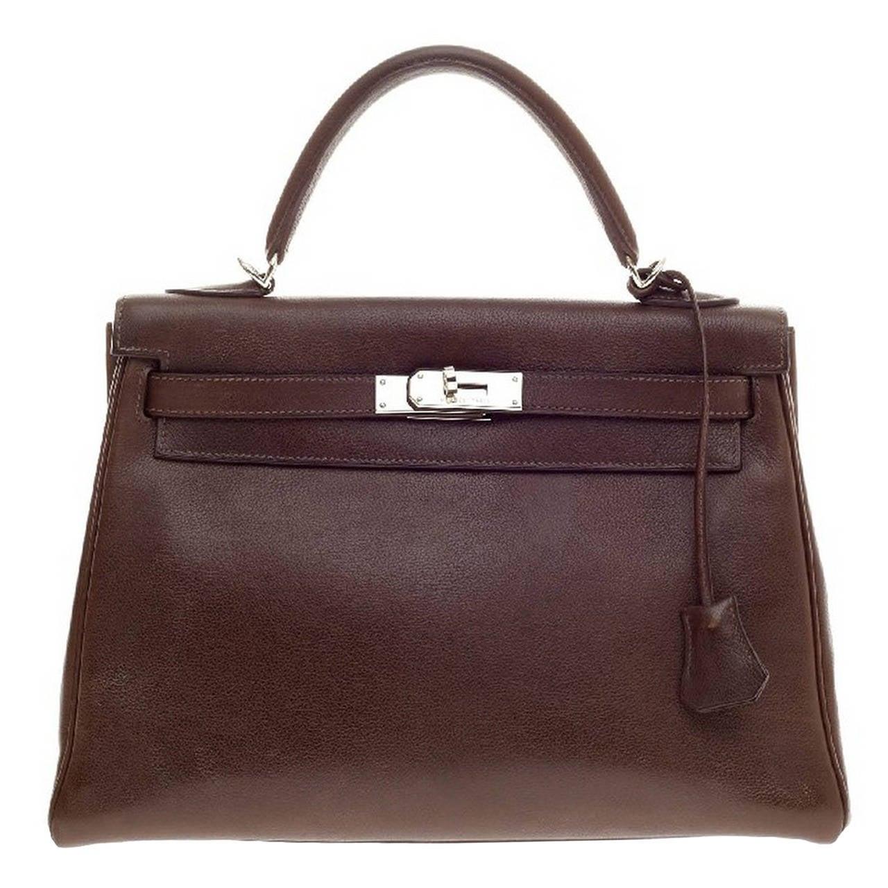 original hermes birkin handbags - Hermes Kelly Havane Evergrain with Palladium Hardware 32 at 1stdibs