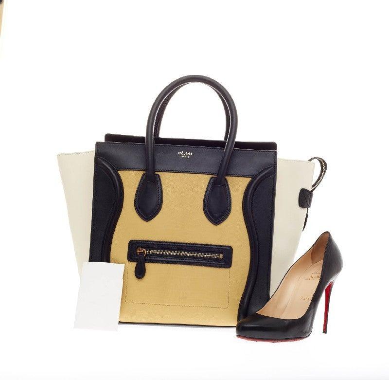 celine blue suede bag - celine mini luggage tote - leather/tricolor