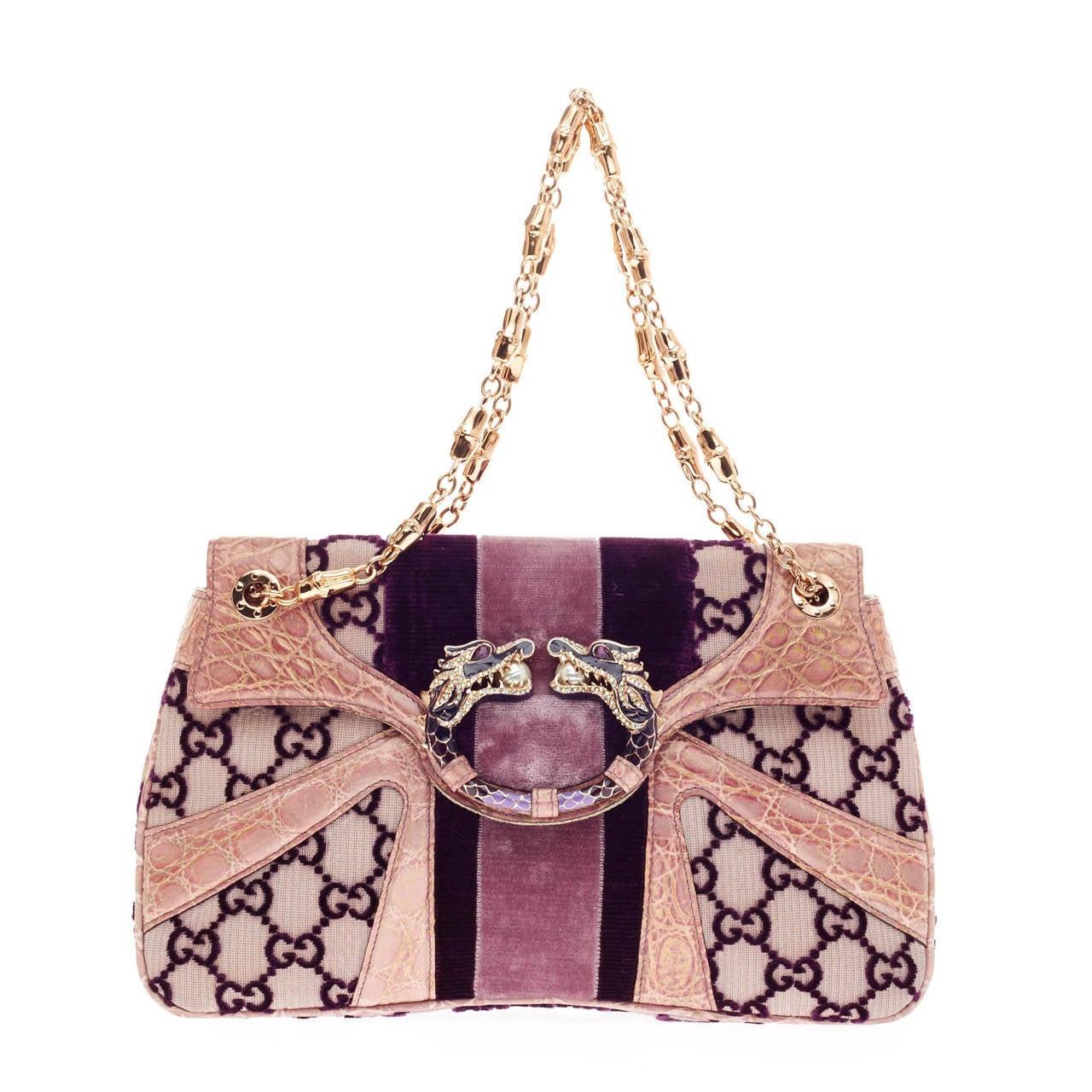 72320648d9b Gucci Jeweled Dragon Bag Velvet Monogram at 1stdibs