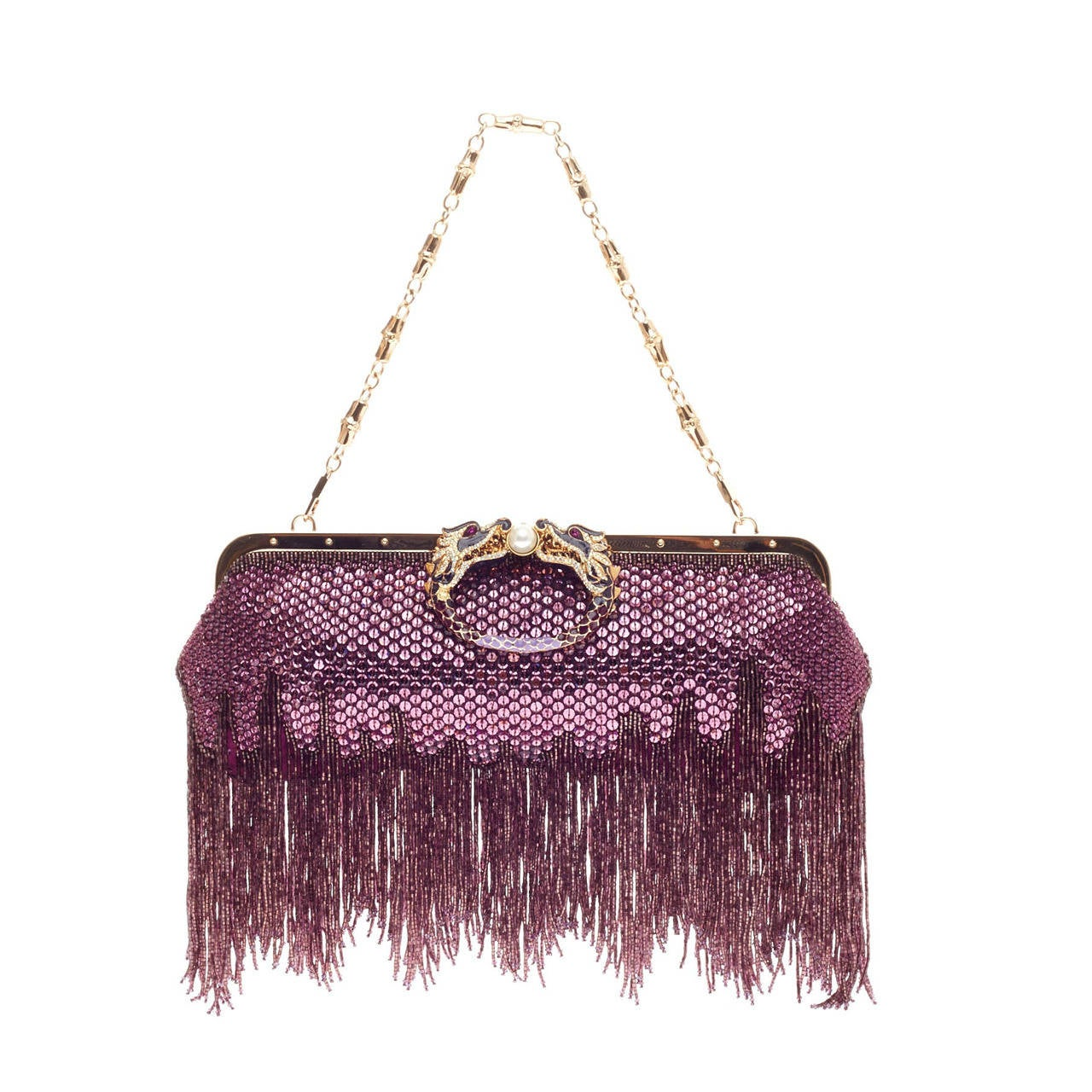 gucci beaded fringe evening bag crystal with dragon head closure at 1stdibs