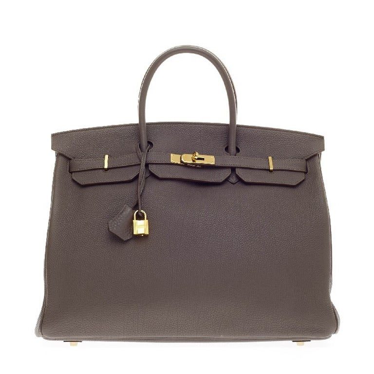 Hermes Birkin Etain Togo With Gold Hardware 40 At 1stdibs