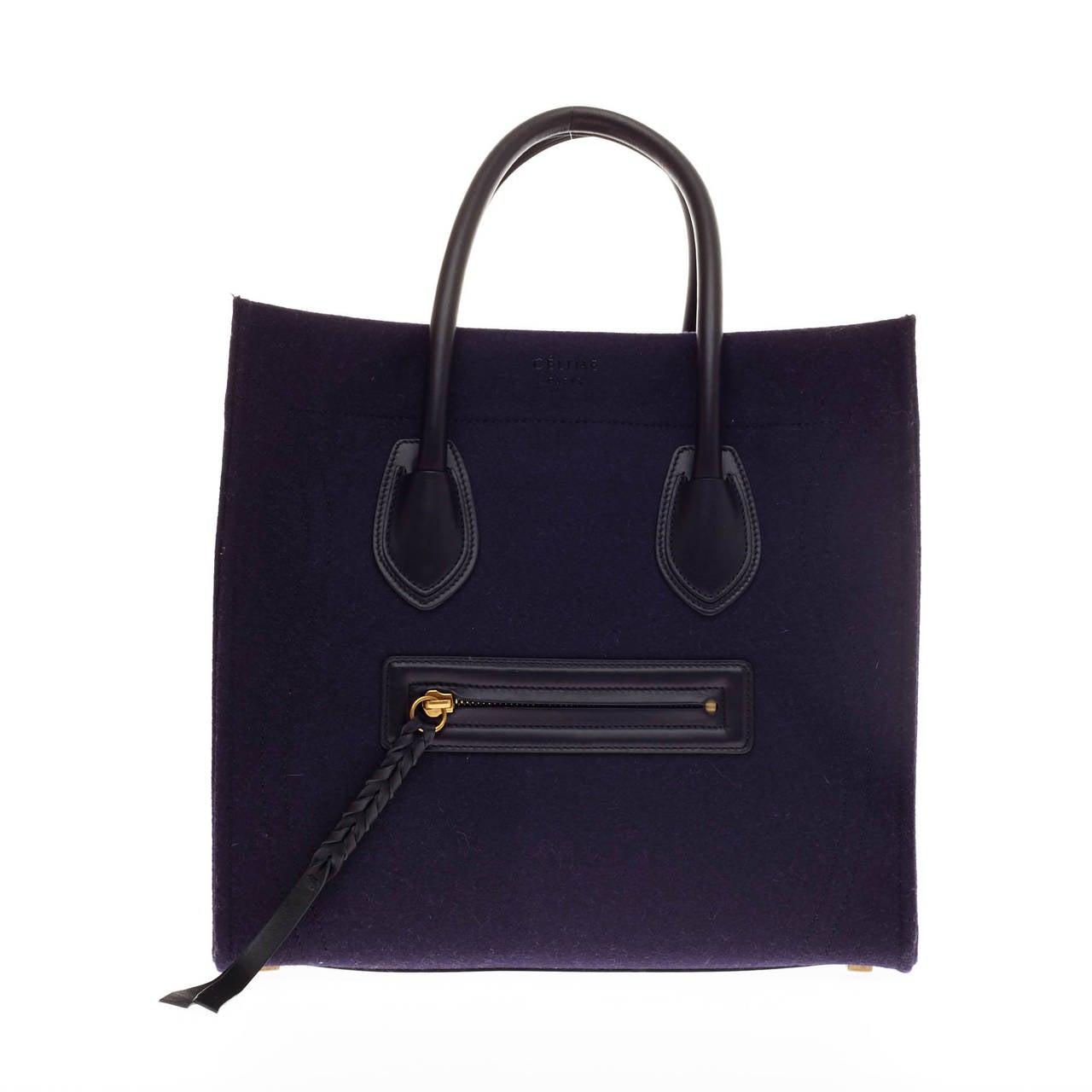 celine luggage tote handbags - celine phantom felt and leather detail medium, celine royal blue bag
